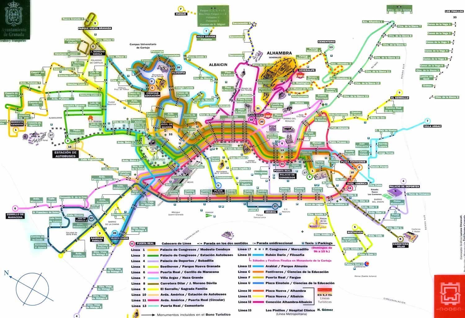 granada bus routes map albaicin mappery going to spain
