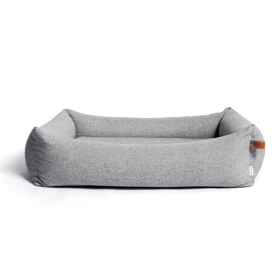 Grey Tweed Dog Bed