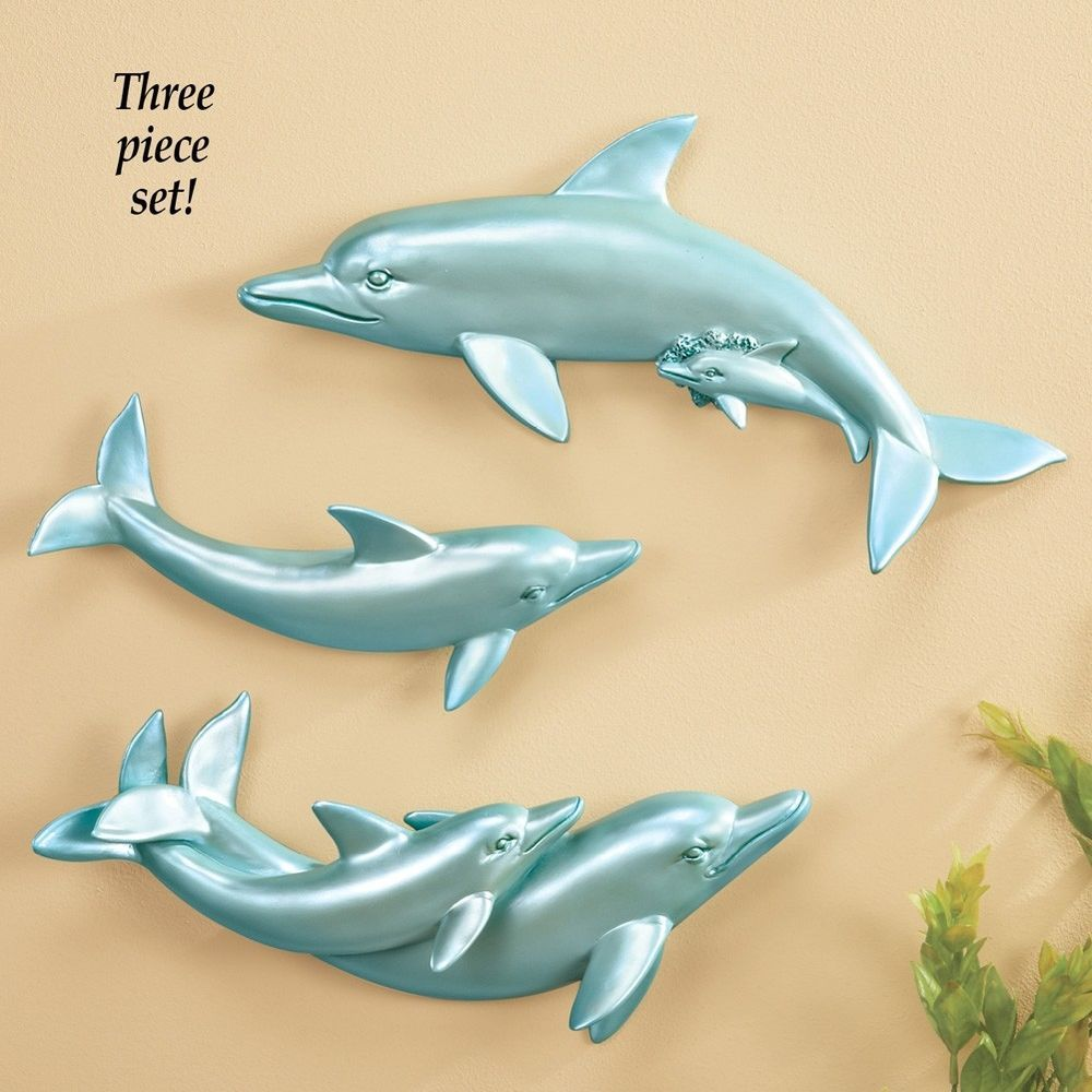 Nature Inspired Dolphins Wall Art Decor with Hooks Hand Painted ...
