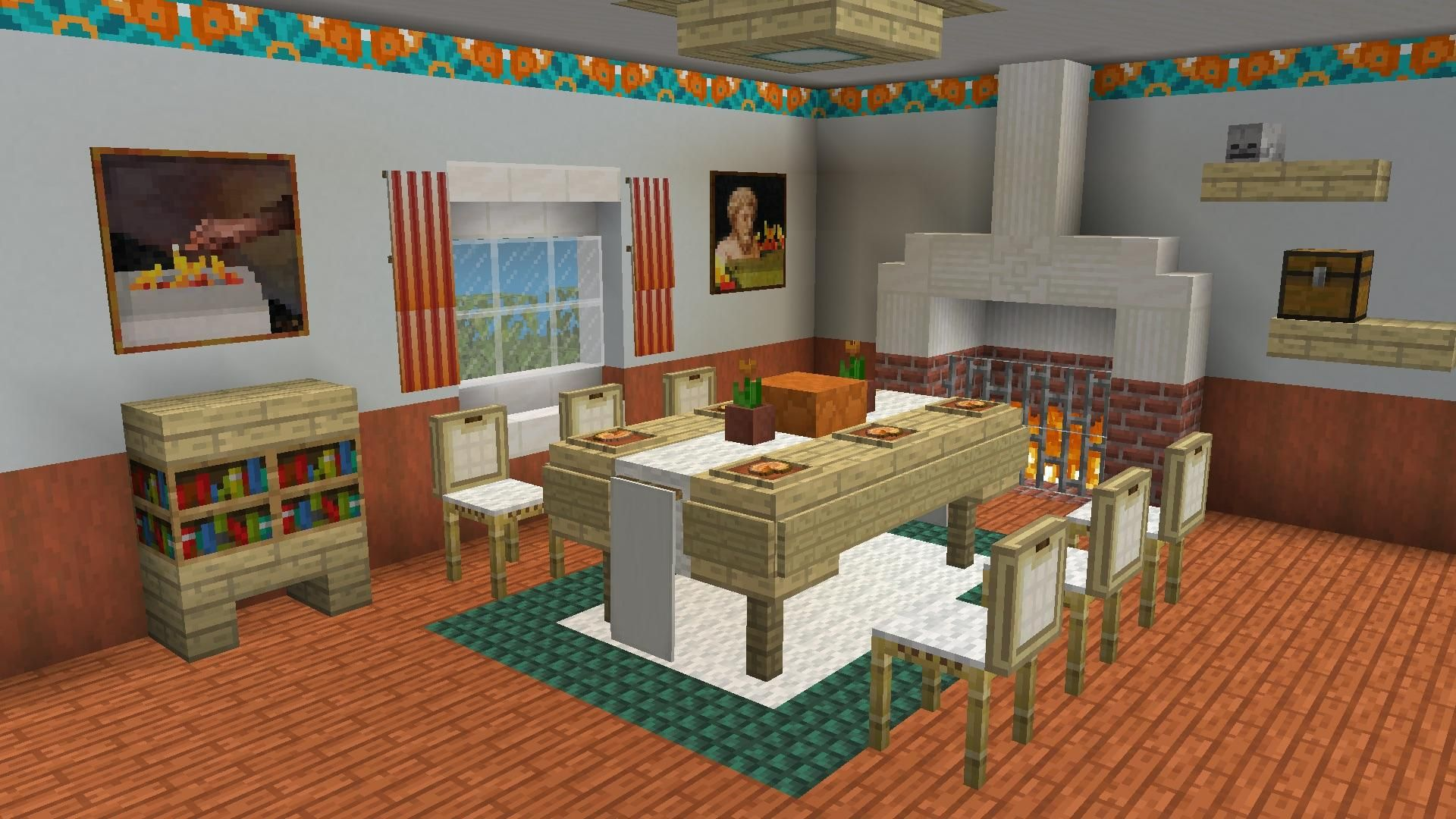 New Dining Room What Do You Guys Think Https I Redd It Eyvwyby71r321 Jpg Minecraft Decorations Minecraft Modern Minecraft Room