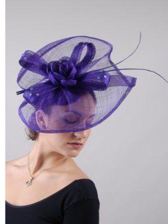 Amazon.com  Fascinators Sinamay Hat - 5696H (Purple)  Clothing ... b8609bed619
