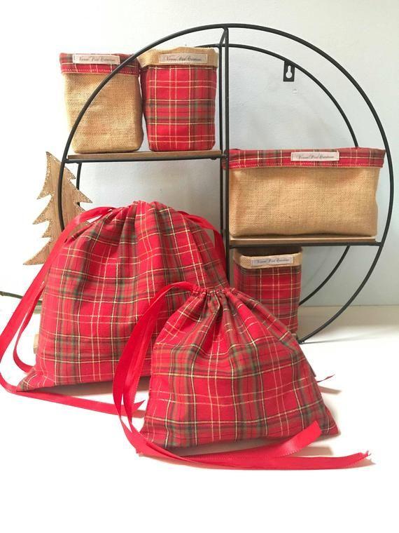 Sac Emballage réutilisable cadeau Noël pochon panier sac écologique toile de jute veronpiotcreation