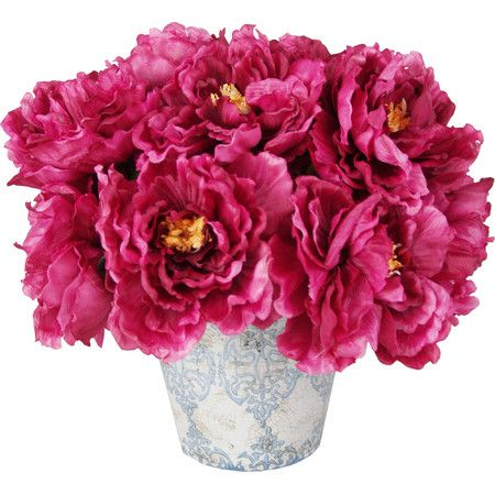 Create a lush tablescape or blooming vignette with this lovely faux magenta peony arrangement, nestled in a ceramic vase for added charm.  ...