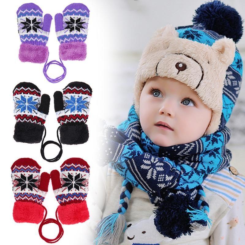 Toddler Boys Girls Warm Knitting Gloves Kids Mittens Winter Full Finger Gloves