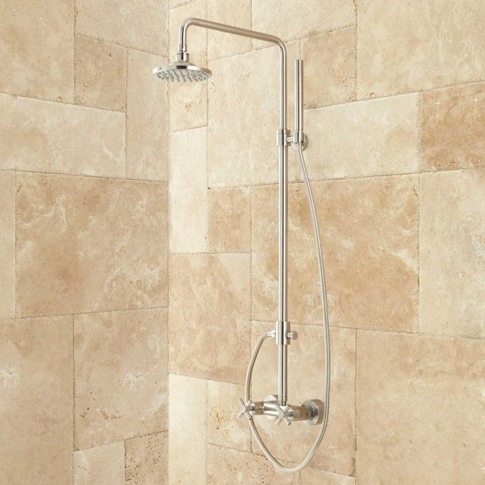 Stiles Exposed Pipe Shower System With Rainfall Shower Head U0026 Hand Shower    Brushed Nickel $309.95