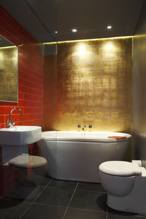 The Bathroom Clark Herself Lied Gold Leaf To Make Room Feel Warm And Luxurious Banish Any Thoughts Of Little Chef Red Tiles Might