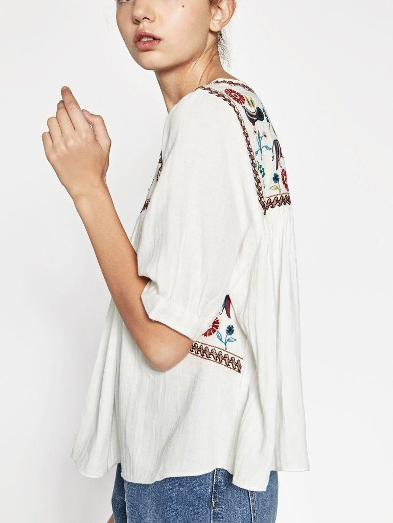 735a9fdd6138d3 Image result for EMBROIDERED ANIMAL BOHO FESTIVAL SMOCK BLOUSE zara ...