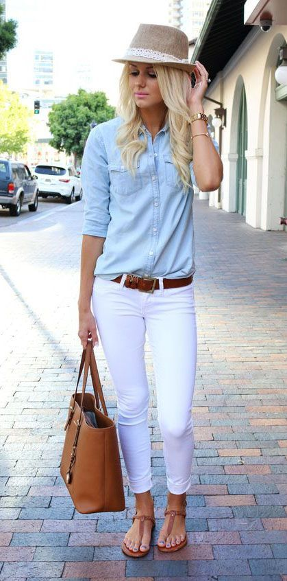 What I Want This Week: The Blue Shirt | White jeans, Blue tops and ...