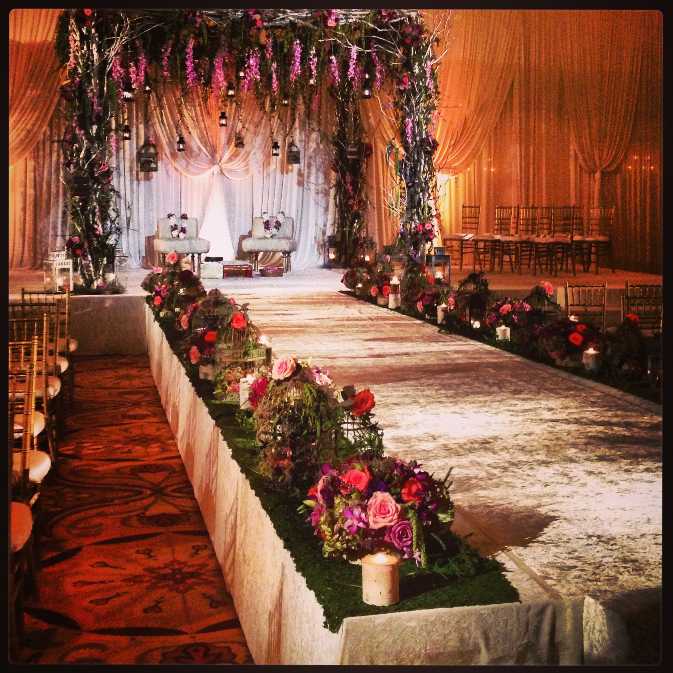 Celebrity Wedding Reception Decor: Spring Enchanted Forest Colors: Purple, Green, A Little