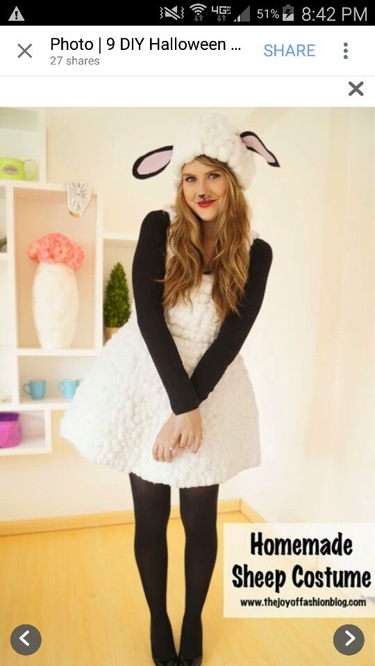 lamb costume made by gluing cotton balls to an old dress. Black Bedroom Furniture Sets. Home Design Ideas