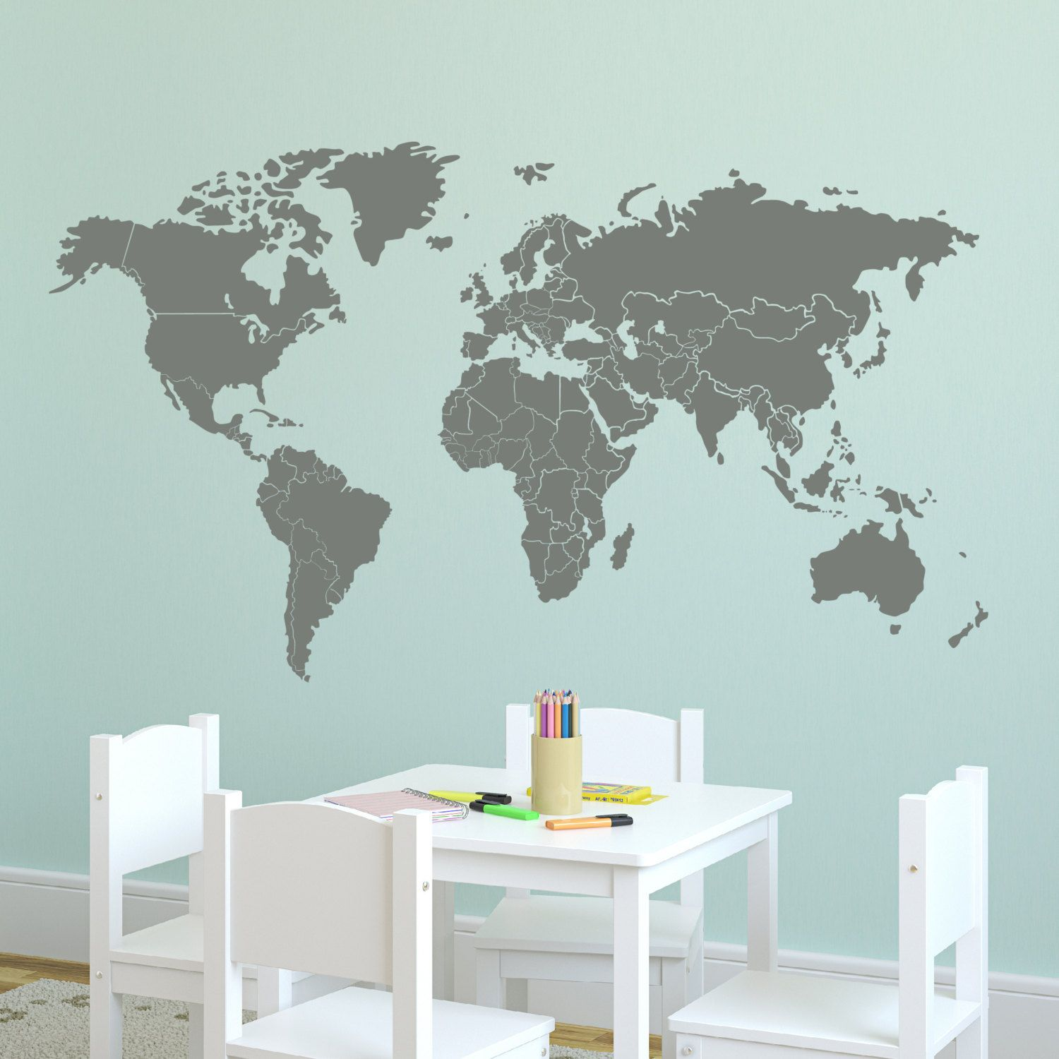 Wall decal 60w large world map with countries borders wall vinyl items similar to wall decal world map with countries borders wall vinyl decal sticker on etsy publicscrutiny Gallery
