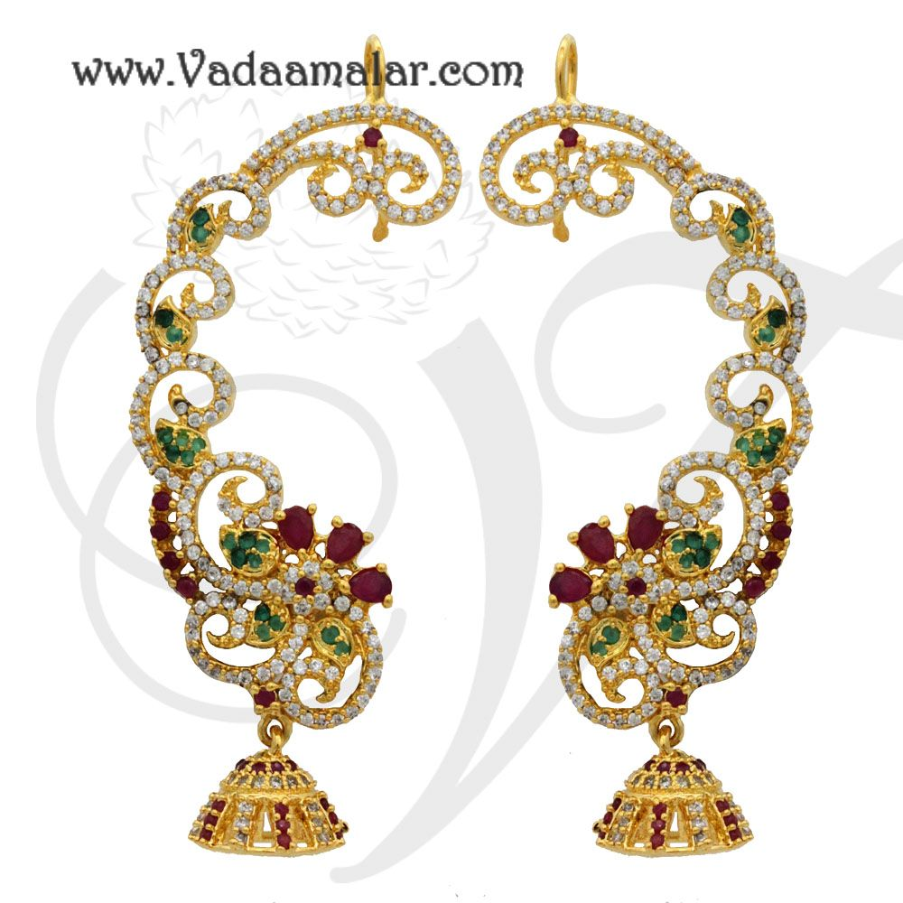Earrings with Kan Chain Extension American Diamond and Ruby Stones ...