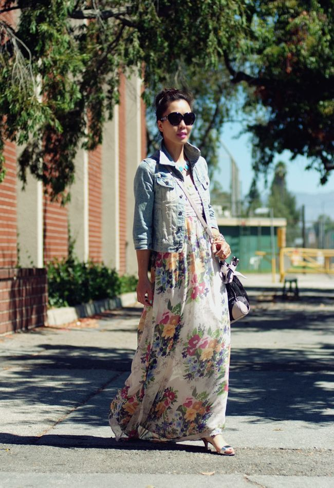 0500ca98977 maxi flower dress   denim jacket