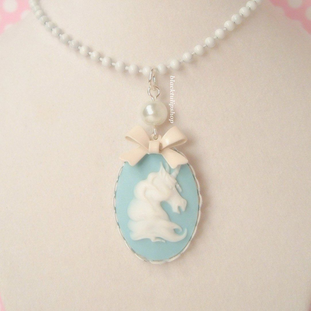 Fairy Tale Unicorn Necklace Lolita Blue Cameo White Lace Edge Setting