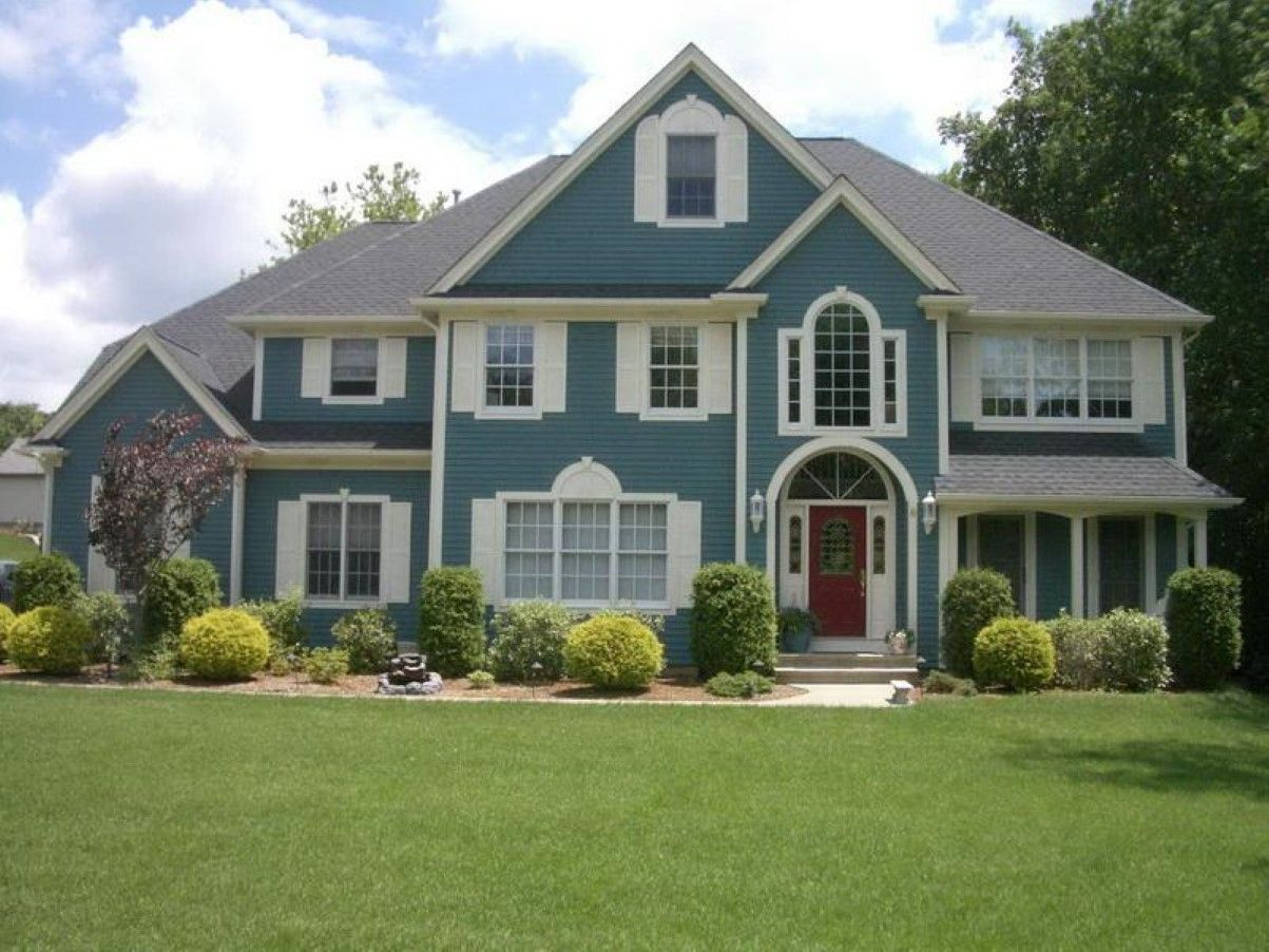 Exterior:Nice Clean Exterior House Paint With Turquoise Accent ...