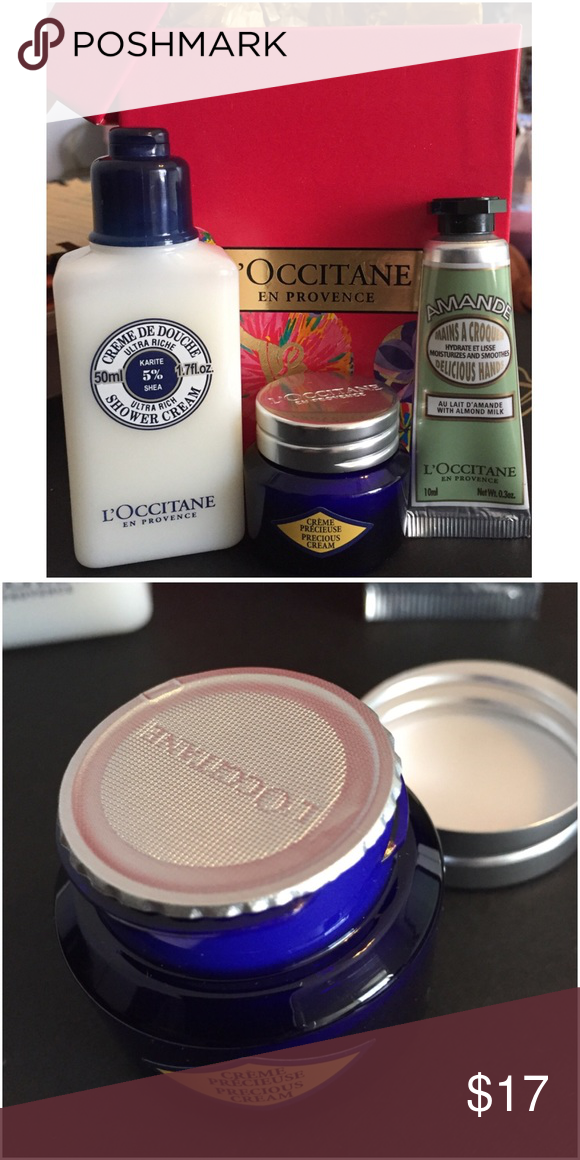 L'Occitane Bundle Bundle of L'Occitane beauty product. All new, never used.  Great travel sizes.  1️⃣ Ultra Rich Shower Cream with Shea. 1.7 fl. oz. 2️⃣ Precious Cream .28 oz. (sealed). 3️⃣ Delicious Hands Lotion with Almond Milk .3 oz. ❤️ Comes with the box pictured. L'Occitane Makeup