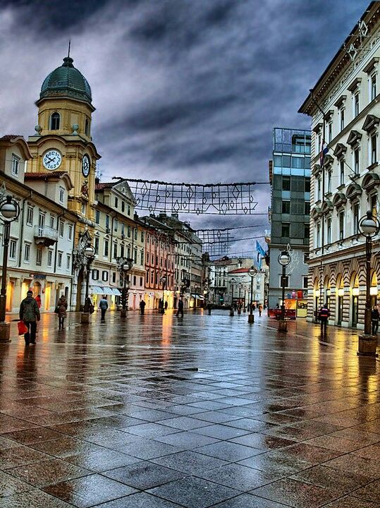 Downtown After The Rain European Cruises Rijeka Croatian Coast
