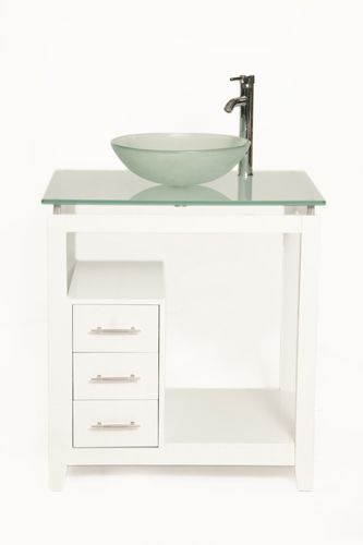 New Bionic Cappuccino Bath Vanity In White With Frosted Glass Top