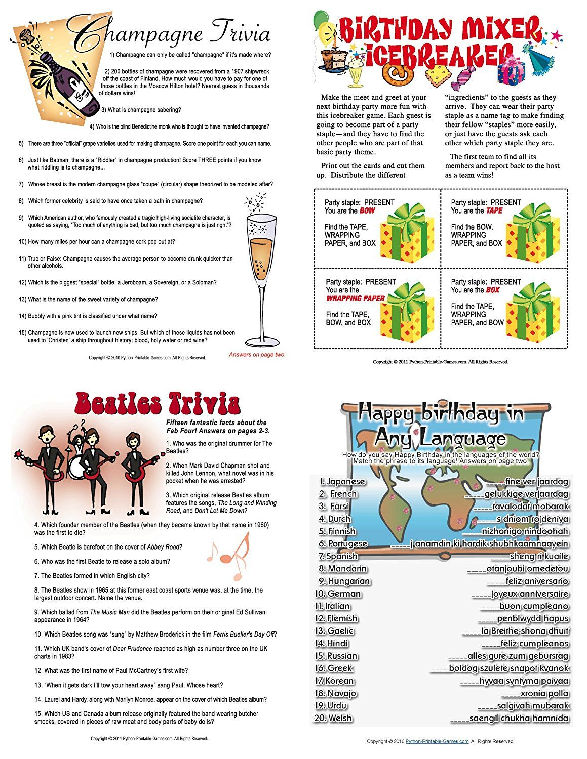 Printable 60th Birthday Party Game Pack [Download