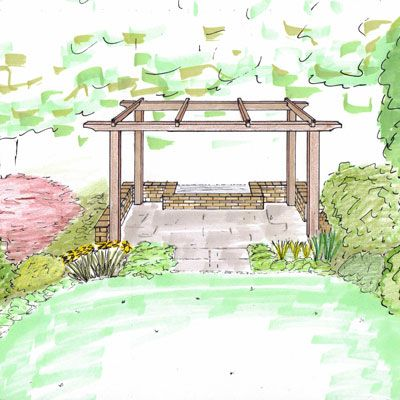 Simple Pergola Sketch From Carreg Garden Design