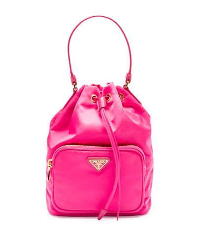 233b456289a545 V2BEQ Prada Tessuto Mini Bucket Crossbody Bag, Fuchsia (Fuxia ...