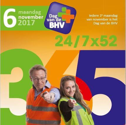 Ieder jaar heeft Dag van de BHV een thema. Thema 2017: 24/7x52=365 Ofwel: er zijn altijd en overal BHV'ers om je heen. Weet je dat? Besef je dat? #dvdbhv #bhv