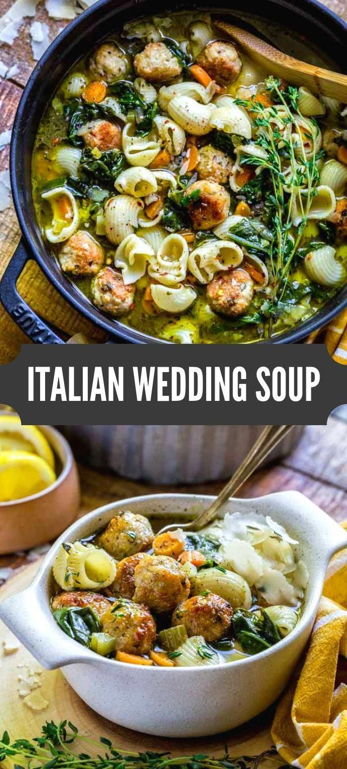 BEST ITALIAN WEDDING SOUP RECIPE! This rustic noodle soup is packed with beautiful colors, flavors and textures. Enjoy a warm hearty bowl of this healthy flavorful soup. When it comes to comfort food, this recipe is a real winner!