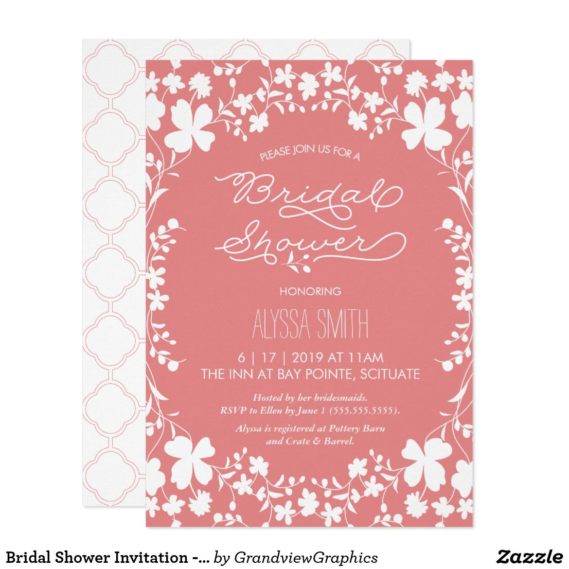 Bridal shower invitation vintage floral clover this elegant bridal shower invitation vintage floral clover this elegant vintage style bridal shower invitation features an illustration of white flowers and clover filmwisefo