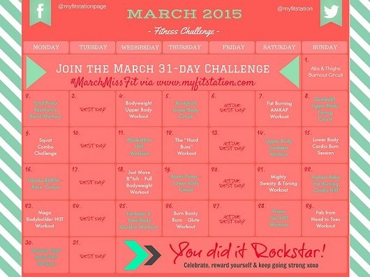 March Miss Fit Your March Fitness Challenge Workout Challenge March Fitness Challenge Month Workout Challenge