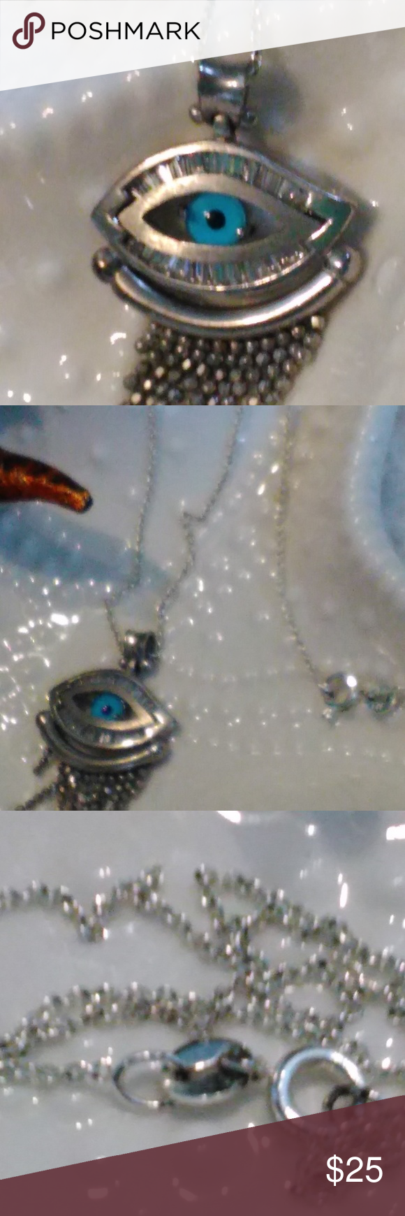 Sterling Silver Evil Eye Pendant Necklace 925 Beautiful Hanging On