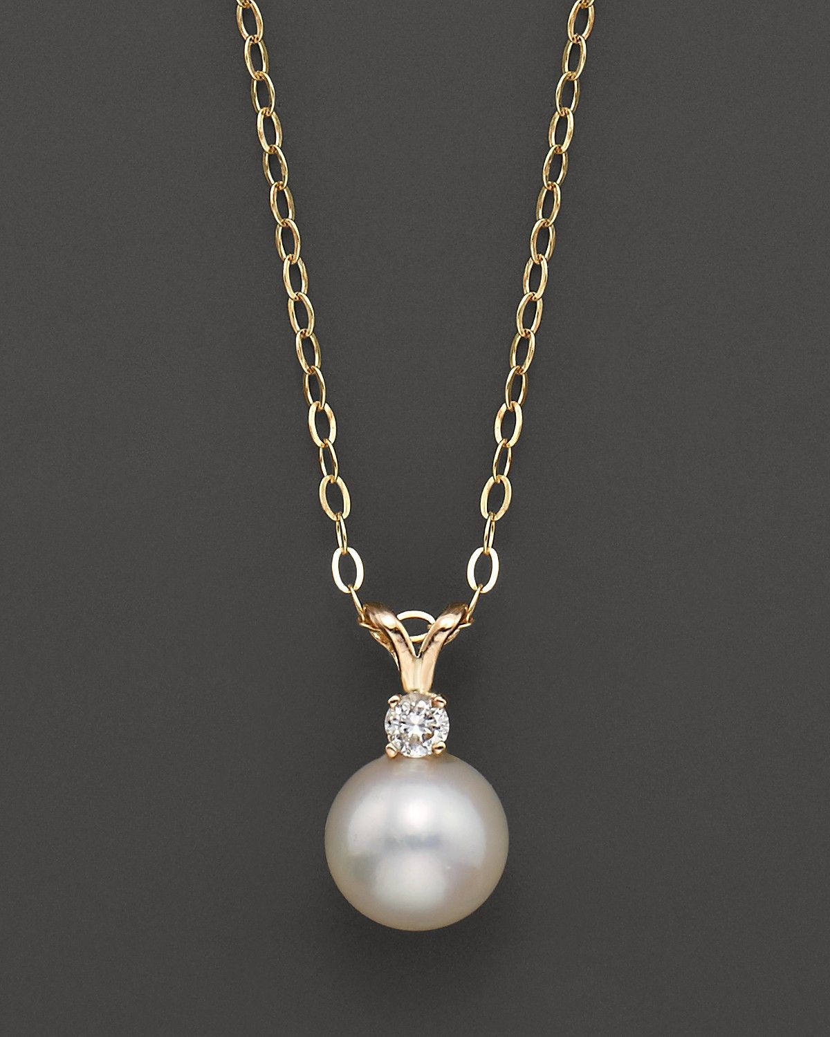8dbd70a9c6d Cultured Freshwater Pearl and Diamond Pendant Necklace in 14K Yellow ...