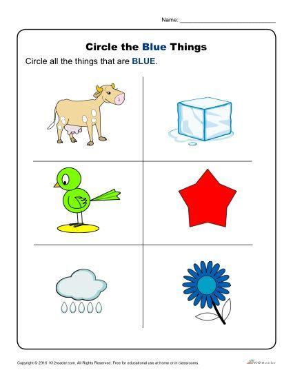 Circle The Blue Things Preschool Color Worksheets Color Worksheets For Preschool Preschool Colors Preschool Color Activities