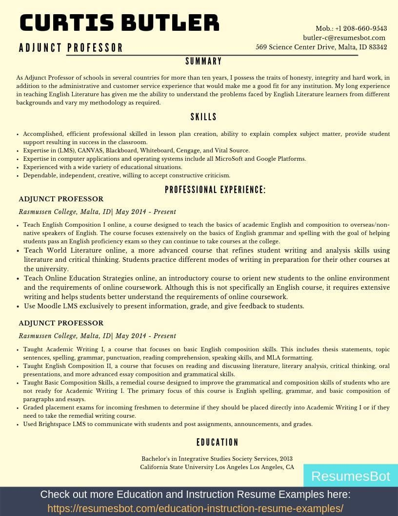 Adjunct Professor Resume Samples & Templates [PDF+DOC] 2019 - Education resume, Resume template examples, Resume examples, Adjunct professor, Professor, Resume - Want to create or improve your Adjunct Professor Resume Example  ⚡ ATSfriendly Bot helps You ⏩ Use free Adjunct Professor Resume Examples ✅ PDF ✅ MS Word ✅ Text Format