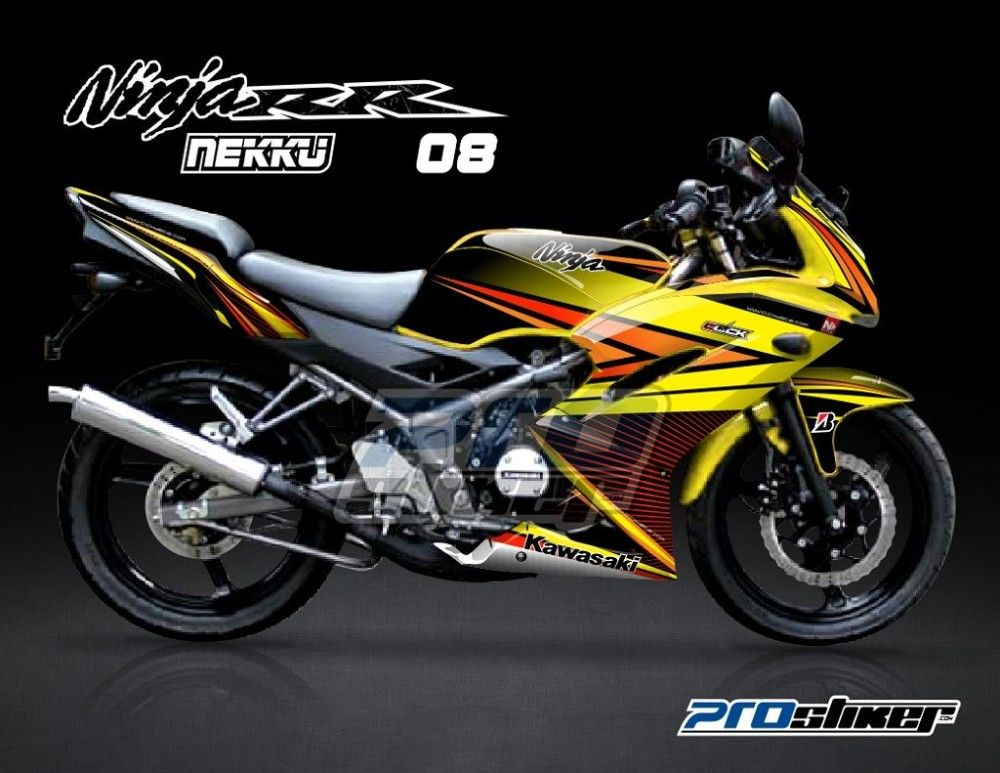 Modifikasi Decal Ninja 150 RR New Warna Kuning Motif Nekku
