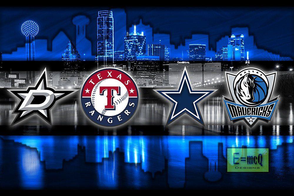 Dallas Sports Poster, Dallas Cowboys, Dallas Stars, Texas