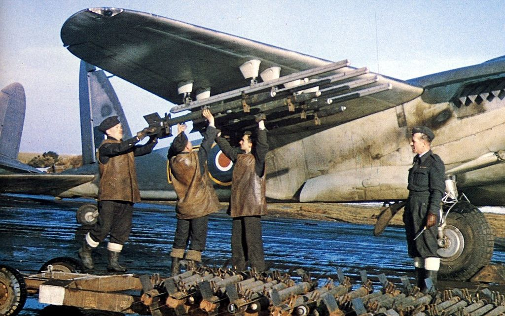 A Mosquito FB VI of 143 Squadron, RAF, receiving eight three inch rockets with 60lb heads - Banff Strike Wing of Coastal Command, Banff, Aberdeenshire, Scotland - 1945