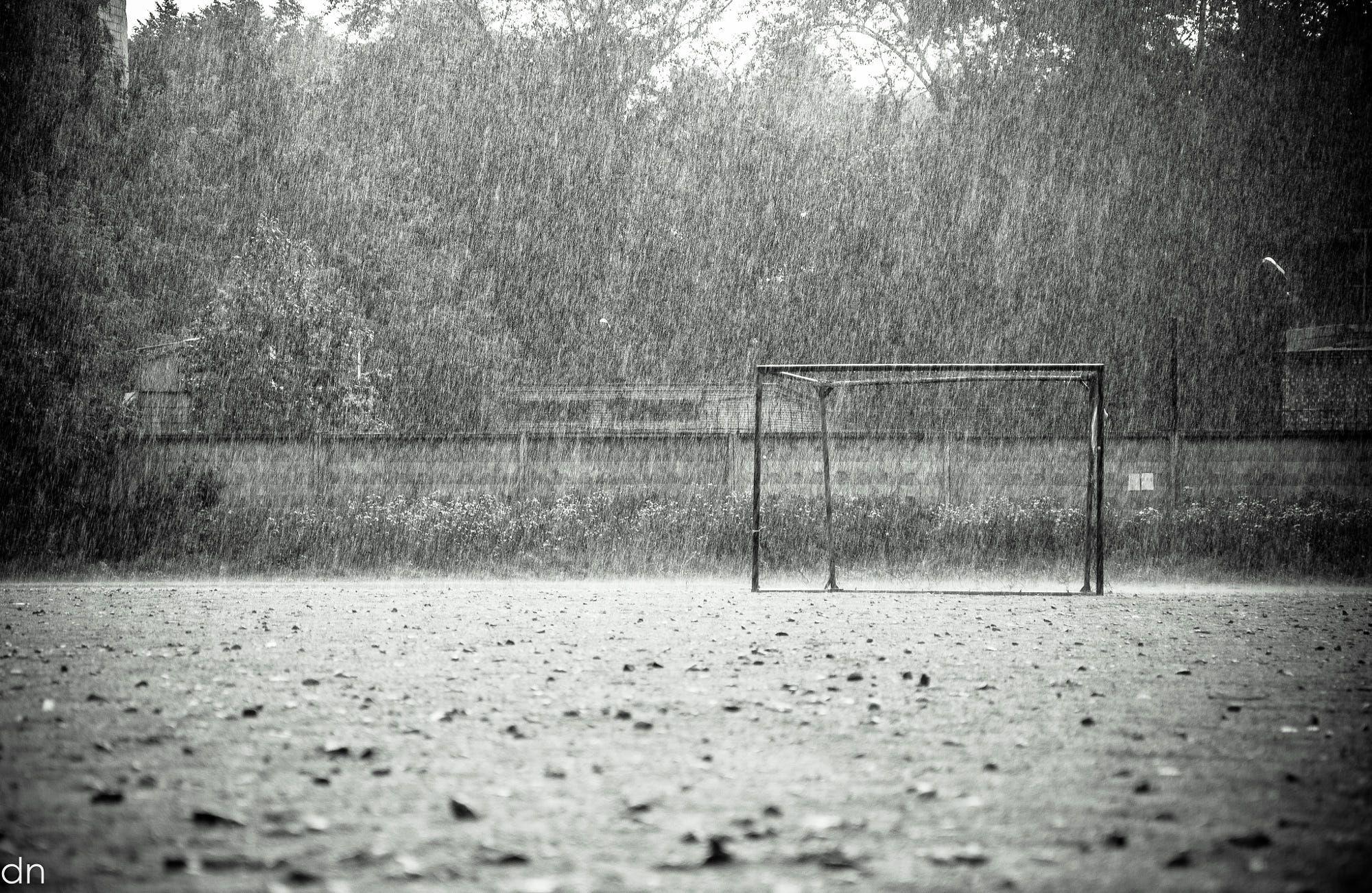 Rain On The Football Field