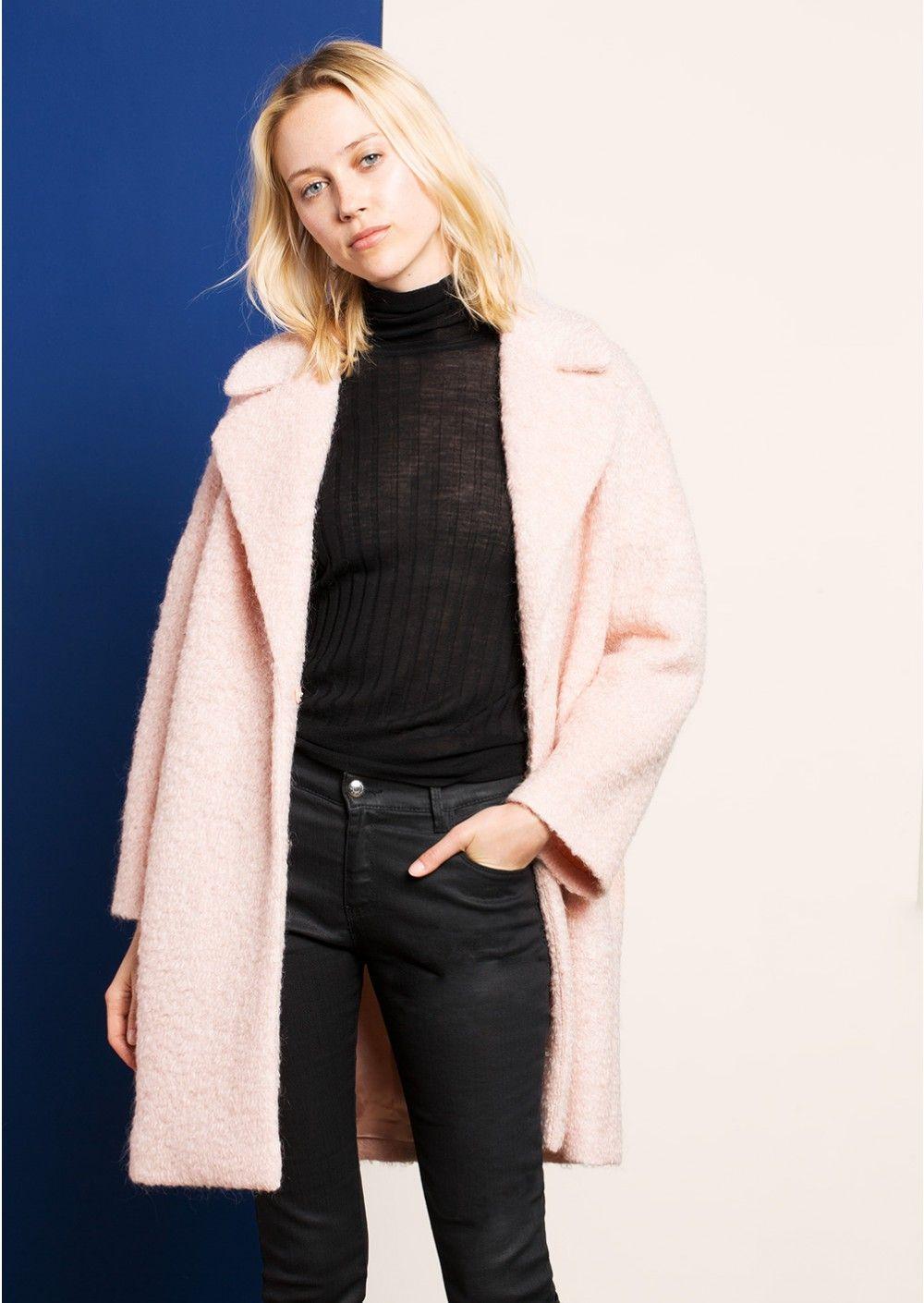 sélection premium 20852 36a87 Manteau rose en bouclette mohair - femme - tara jarmon 1 ...