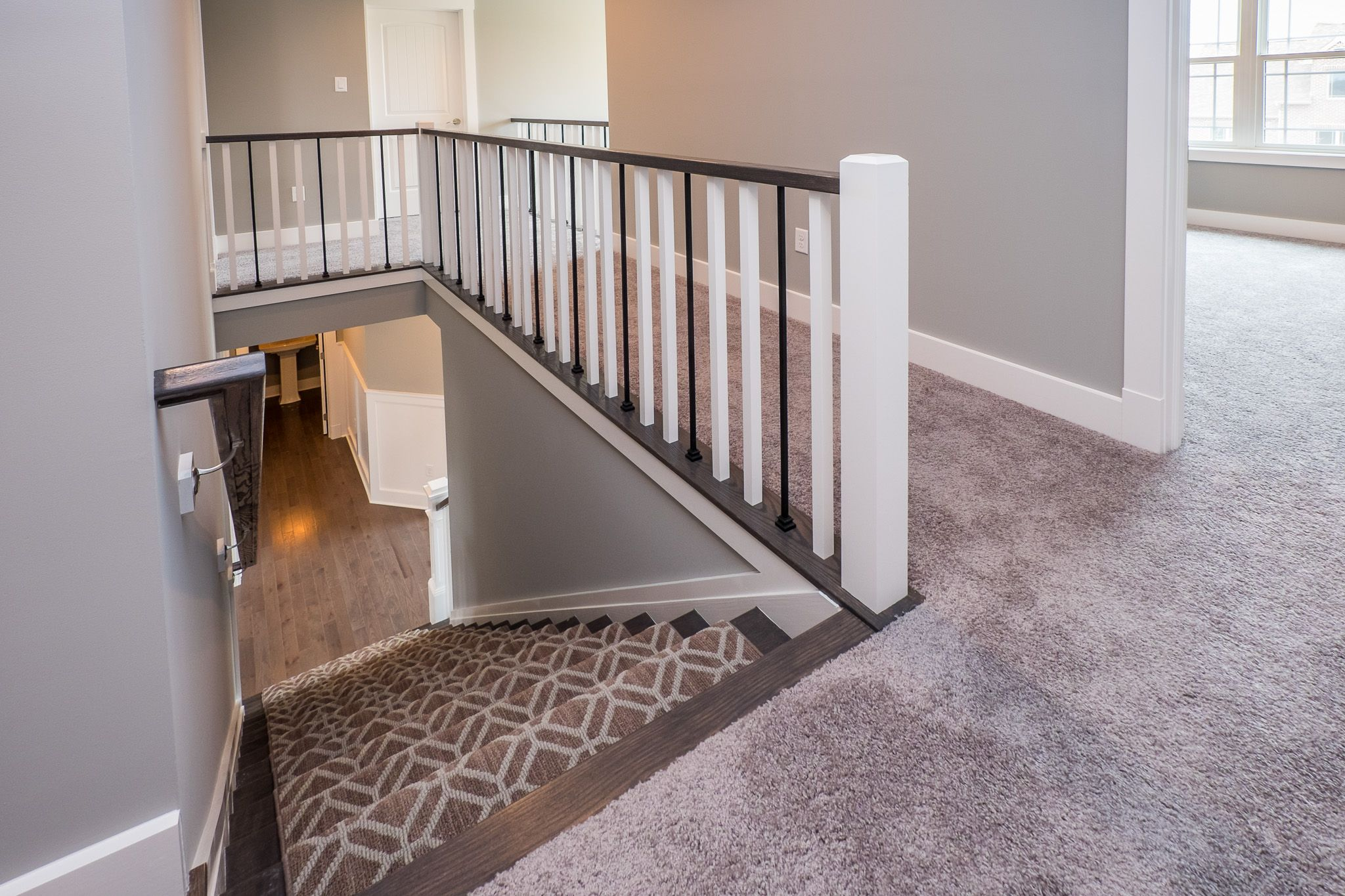Best Stairway To Second Floor Two Tone Wooden Railing Stair 400 x 300