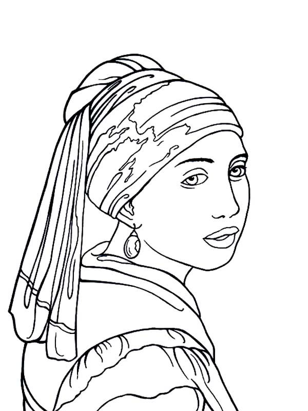 Famous Paintings The Girl With Pearl Earring In Coloring Page