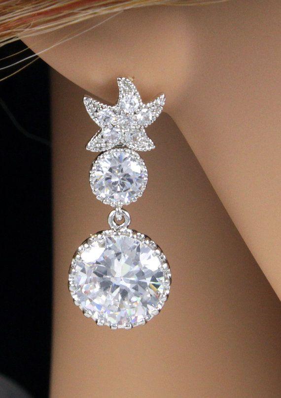 Crystal Star Ear Post With Teardrop Bridal Wedding Earrings Bridesmaids