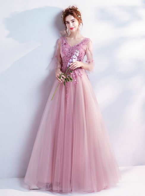 In Stock:Ship in 48 hours A-line Pink Tulle V-neck Backless ...