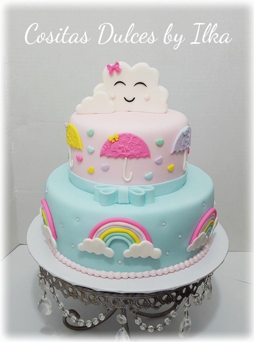 Incredible Baby Shower Cake Umbrellas Clouds Rainbows Cake Baby Shower Funny Birthday Cards Online Amentibdeldamsfinfo
