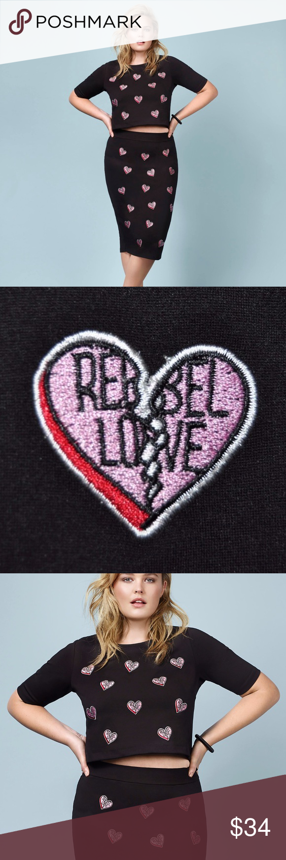 """New TORRID Rebel Wilson Black Heart Patch Crop Top Rebel Wilson for Torrid Heart Patch Crop Top  DETAILS This black ponte crop top is stretchy but form-fitting. Broken heart """"Rebel Love"""" patches lend a playful touch to the heartbreaker style. Pair with the matching skirt or mix it up. Designed exclusively for Torrid by Rebel Wilson.  Model is 5'11"""", size 1 Rayon/nylon/spandex Hand wash cold, dry flat  size 1 (1X 14/16): bust 42, length 21  condition: new with tags smoke-free home NO TRADES torrid Tops Crop Tops"""