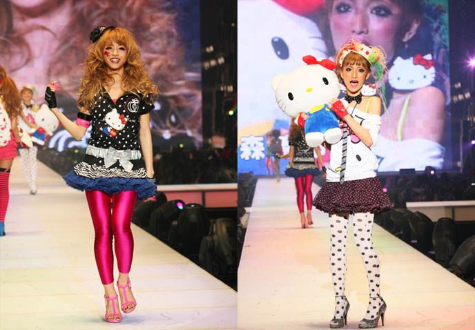 Hello Kitty fashion show, Shibuya Girls collection, Tokyo girls runway presentation, gyaru hairstyles and Japanese women's street clothing. Ganguro gal trendy style, Japanese teenage girl models.
