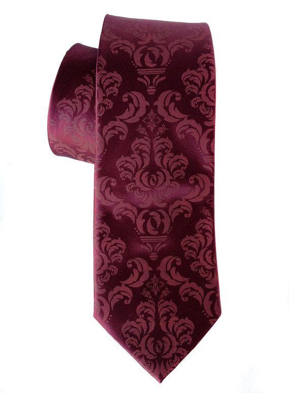 8a6390978480 Damask necktie. Spiced wine silk tie raspberry by Cyberoptix, $45.00 ...