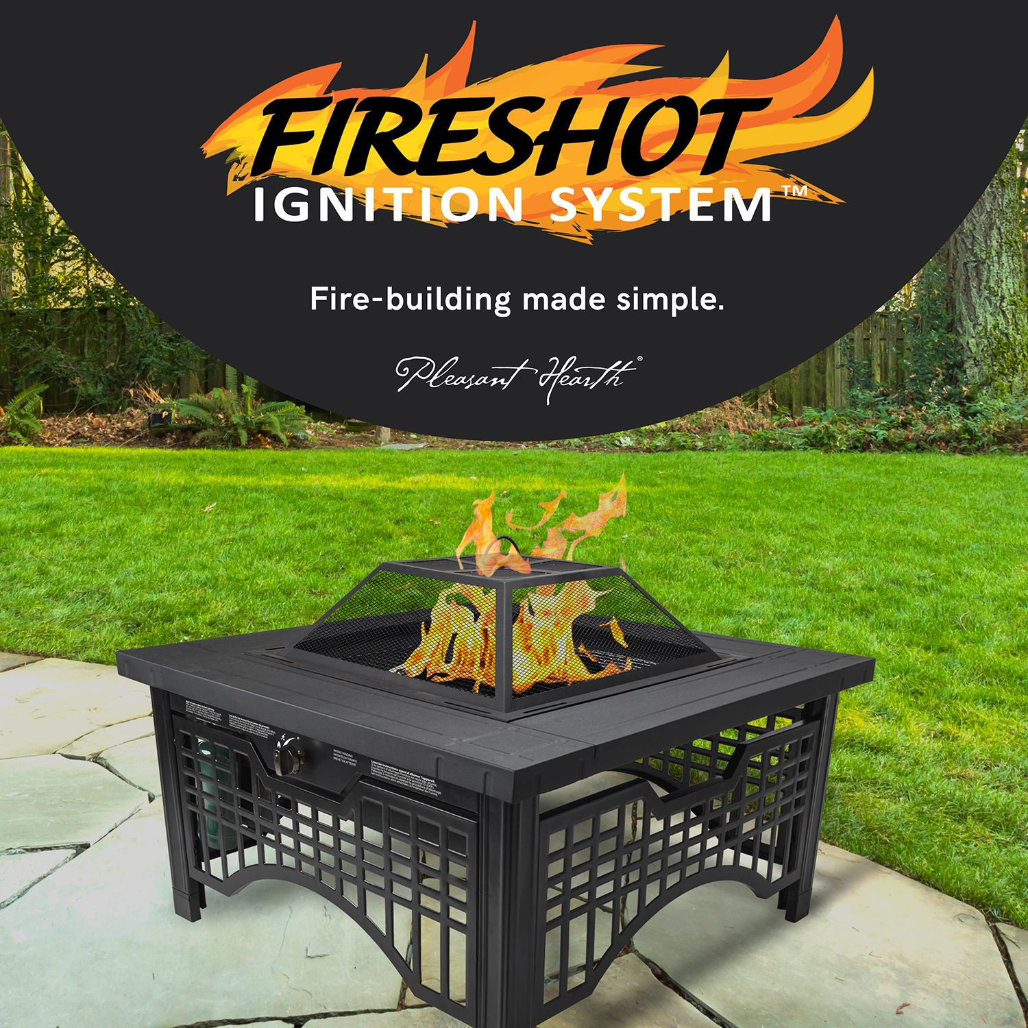 Pleasant Hearth Dakota Wood Burning Fire Pit Barbeque