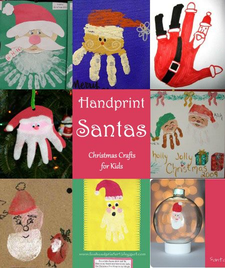 Kids Handprint Santa Crafts Round Up  Santa crafts DIY
