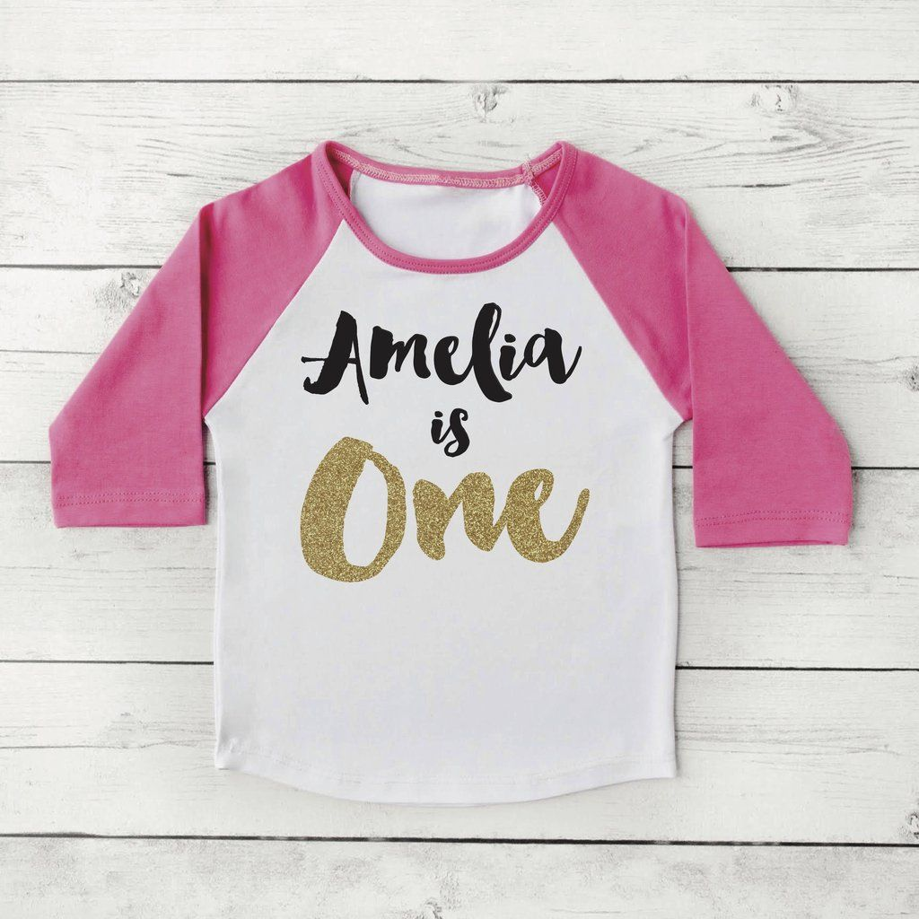 30c3919ae Girl First Birthday Outfit One Shirt PERSONALIZED Year Old Raglan 091 1