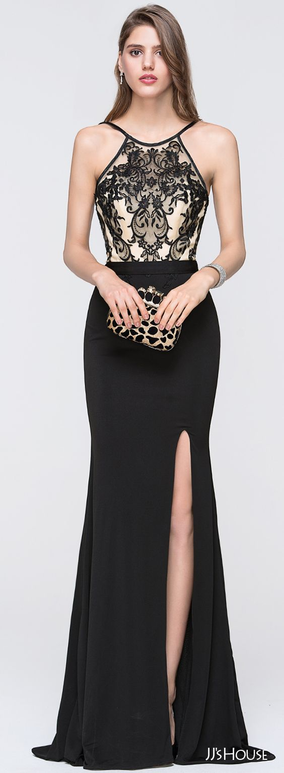 Sheathcolumn scoop neck floorlength jersey prom dresses with split